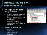 architecture iis 6 0 pools d applications