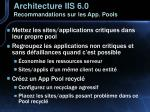 architecture iis 6 0 recommandations sur les app pools
