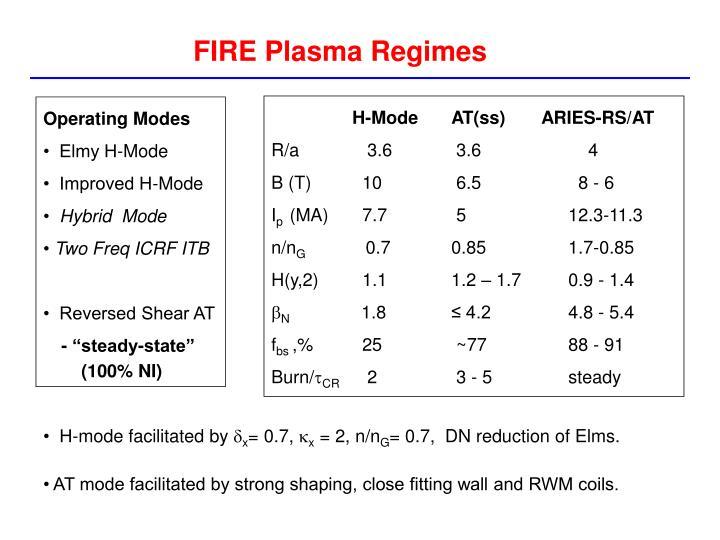 FIRE Plasma Regimes