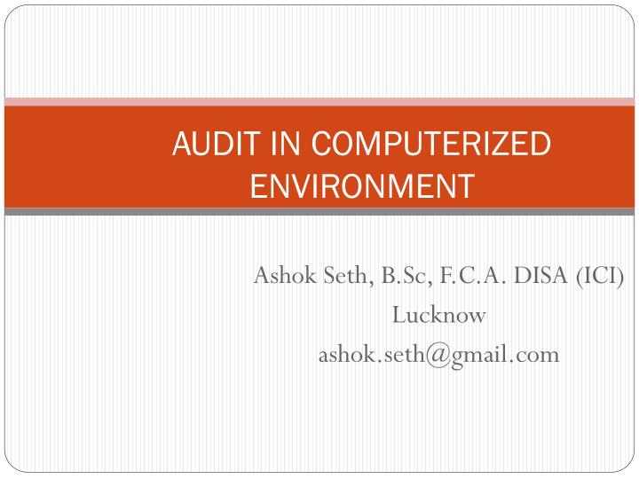audit in computerized environment n.