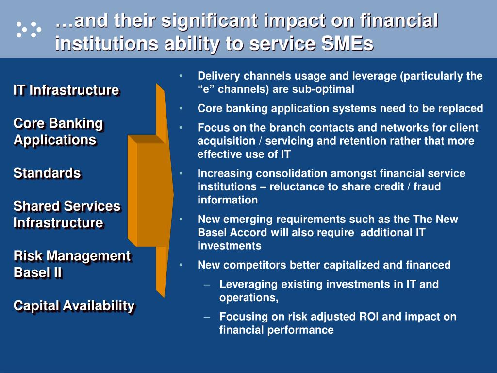 …and their significant impact on financial institutions ability to service SMEs