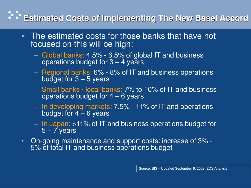 Estimated Costs of Implementing The New Basel Accord