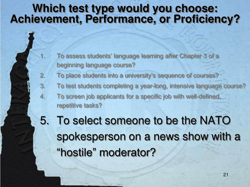 Which test type would you choose: