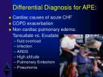 differential diagnosis for ape
