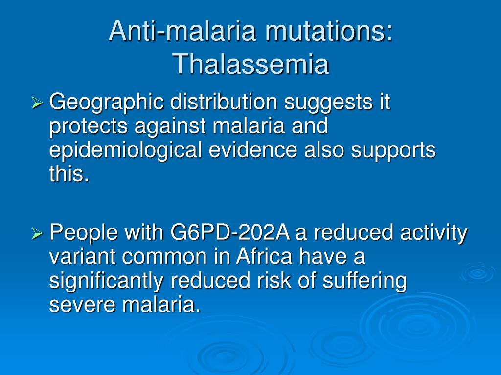 Anti-malaria mutations: Thalassemia