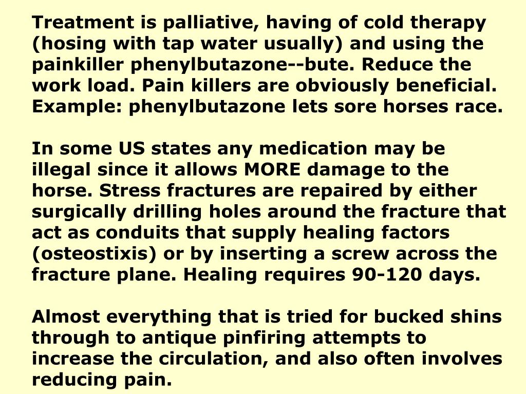 Treatment is palliative, having of cold therapy (hosing with tap water usually) and using the painkiller phenylbutazone--bute. Reduce the work load. Pain killers are obviously beneficial. Example: phenylbutazone lets sore horses race.