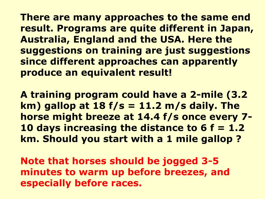 There are many approaches to the same end result. Programs are quite different in Japan, Australia, England and the USA. Here the suggestions on training are just suggestions since different approaches can apparently produce an equivalent result!