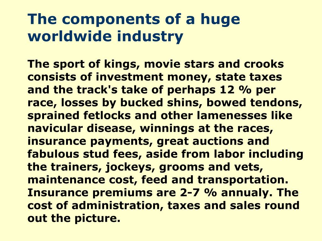 The components of a huge worldwide industry