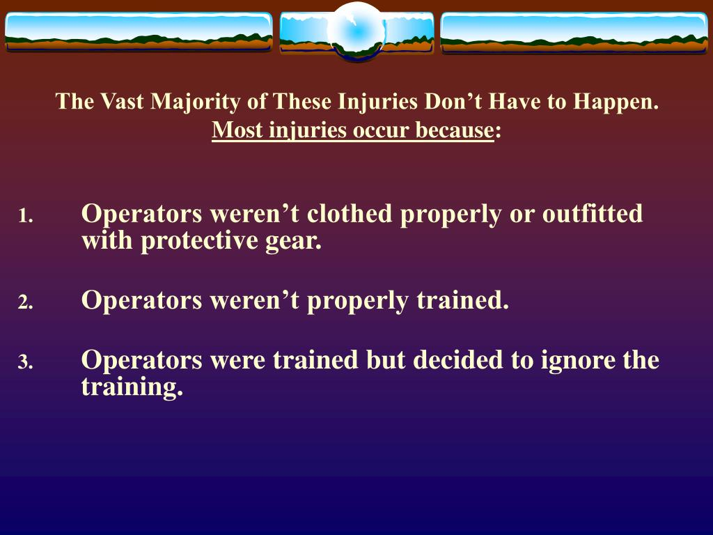 The Vast Majority of These Injuries Don't Have to Happen.