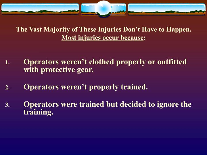 The vast majority of these injuries don t have to happen most injuries occur because