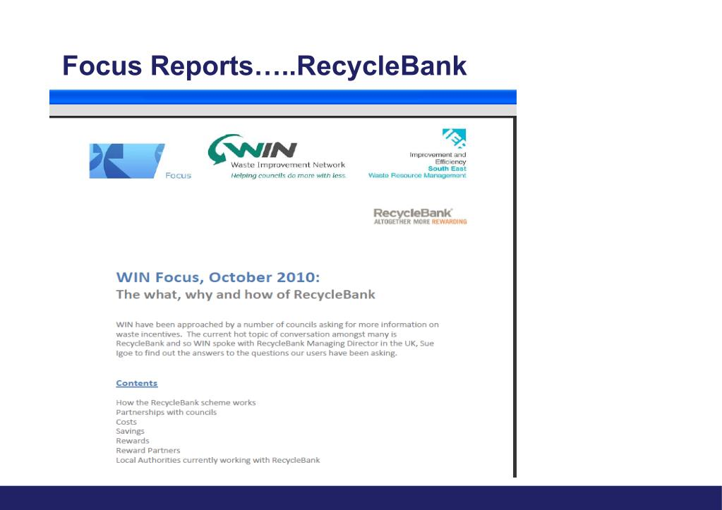 Focus Reports…..RecycleBank