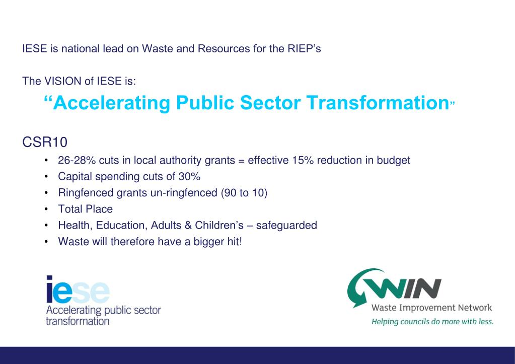 IESE is national lead on Waste and Resources for the RIEP's