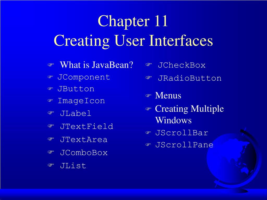 chapter 11 creating user interfaces l.