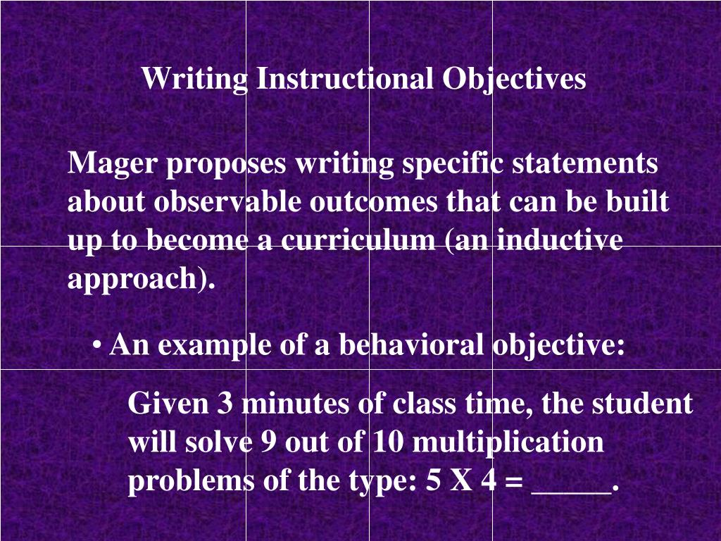 Writing Instructional Objectives