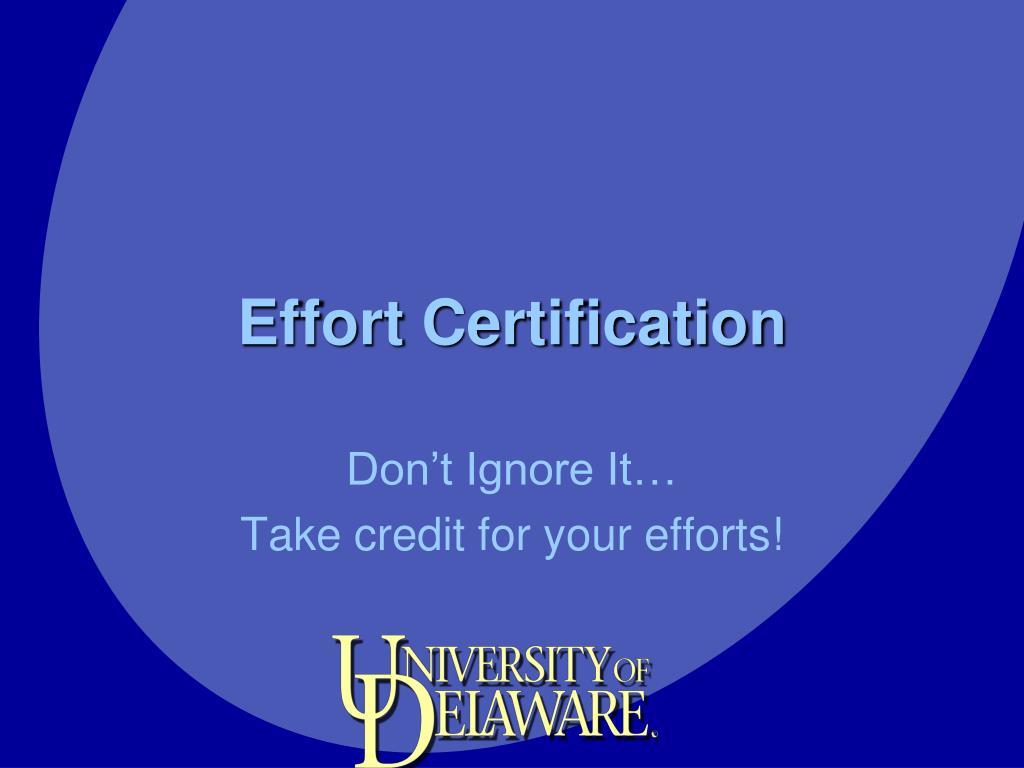effort certification l.