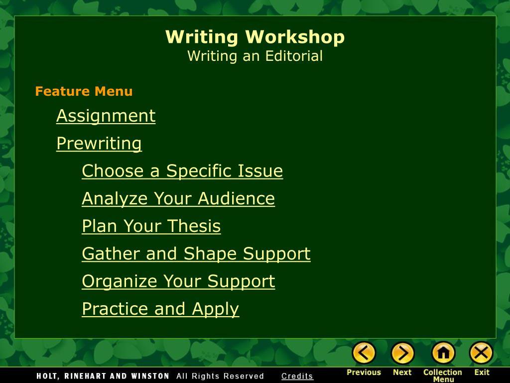 writing workshop writing an editorial l.