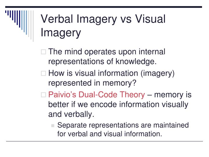 Verbal imagery vs visual imagery