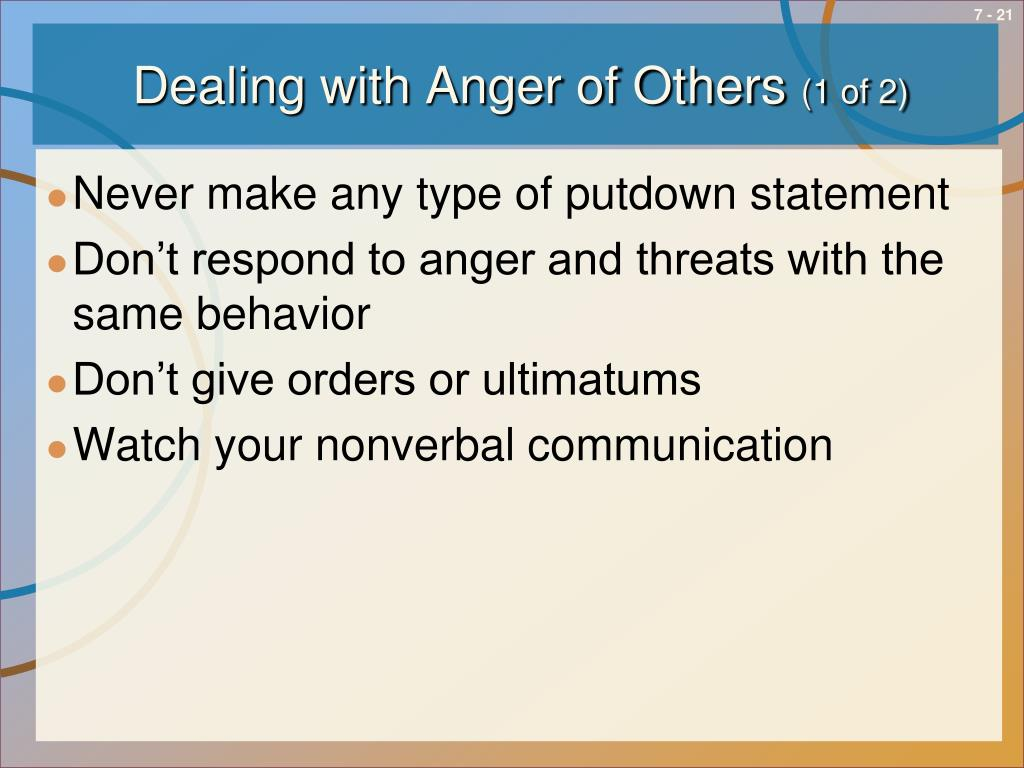 Dealing with Anger of Others