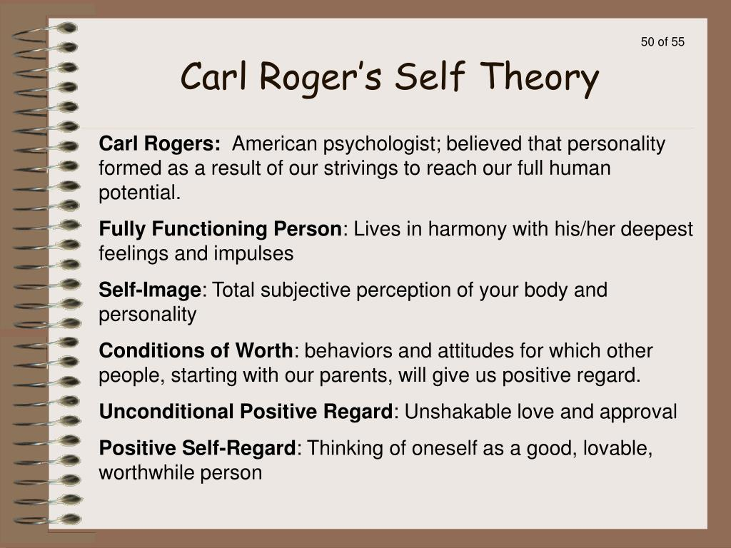 four main points of carl rogers theory of self concept Rogers' theory of development shows there is one main motive in life, the motive to self actualize, for the individual to develop the self they were meant to be he believed that all infants have an in-born need for the desire of positive self regard, a need to be loved and accepted by their parents and others.