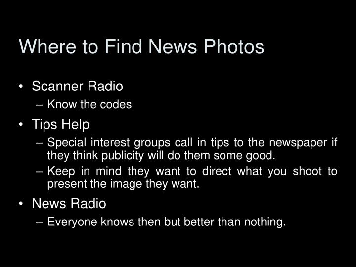 Where to find news photos