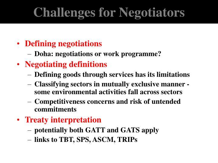 Challenges for Negotiators