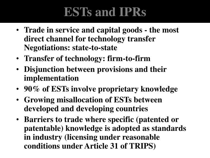 ESTs and IPRs