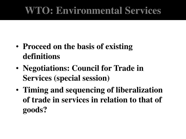WTO: Environmental Services