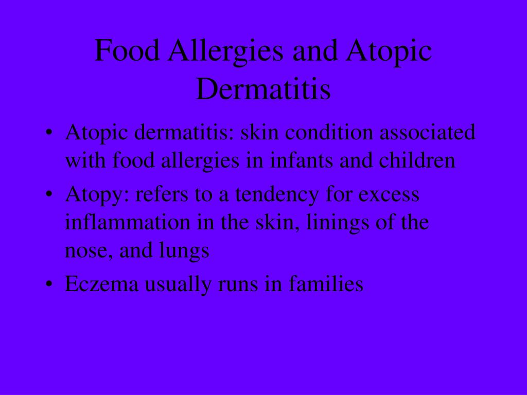 Food Allergies and Atopic Dermatitis