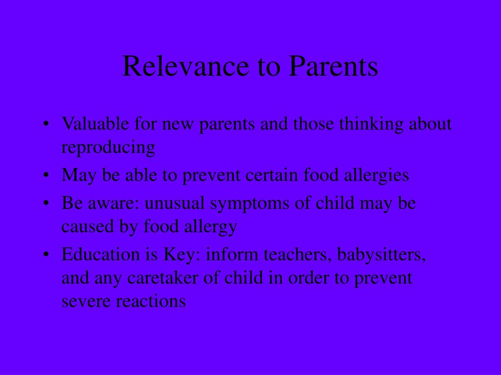 Relevance to Parents