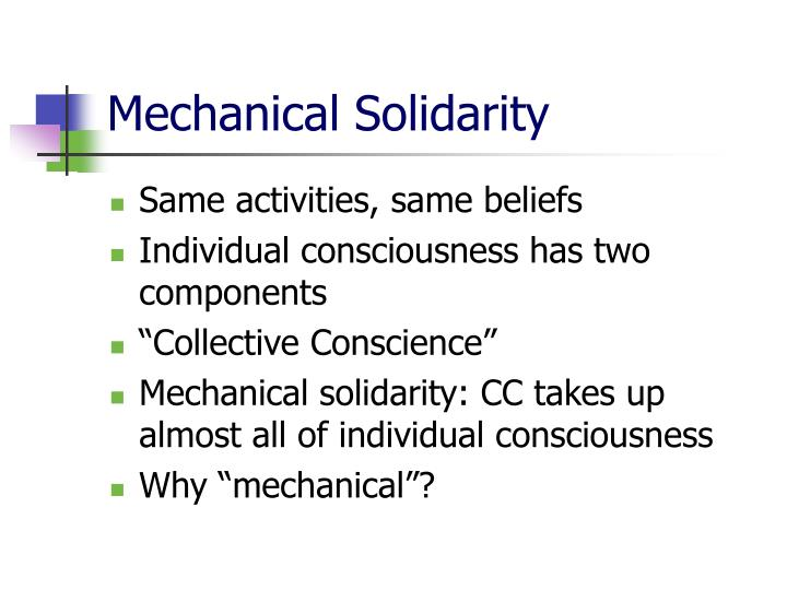 what is mechanical solidarity