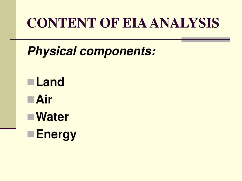 CONTENT OF EIA ANALYSIS