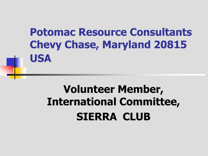 Potomac resource consultants chevy chase maryland 20815 usa