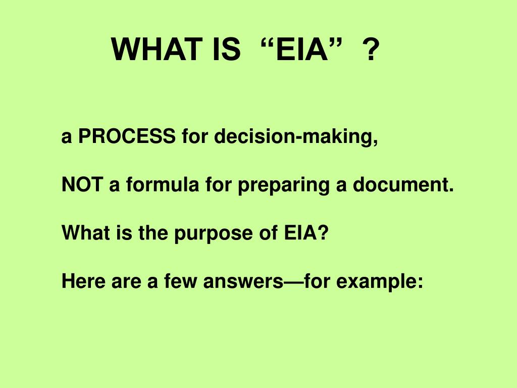 """WHAT IS  """"EIA""""  ?"""
