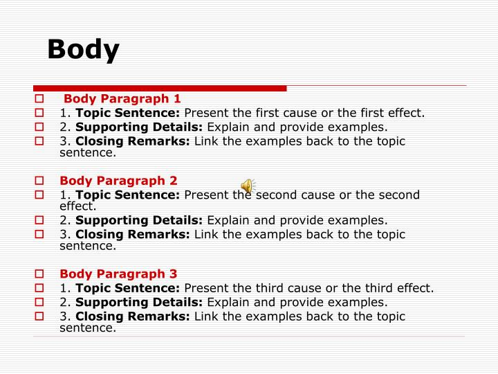 effect cause paragraph examples