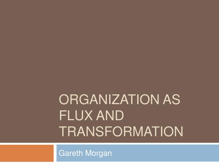 organization as flux and transformation n.