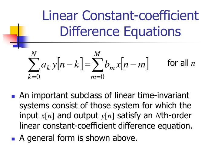 linear constant coefficient difference equations n.