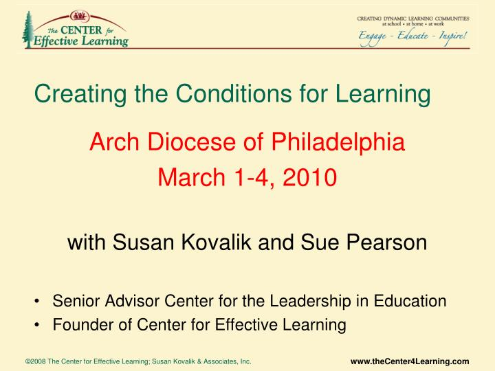 creating the conditions for learning n.