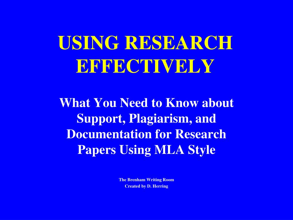 using research effectively l.