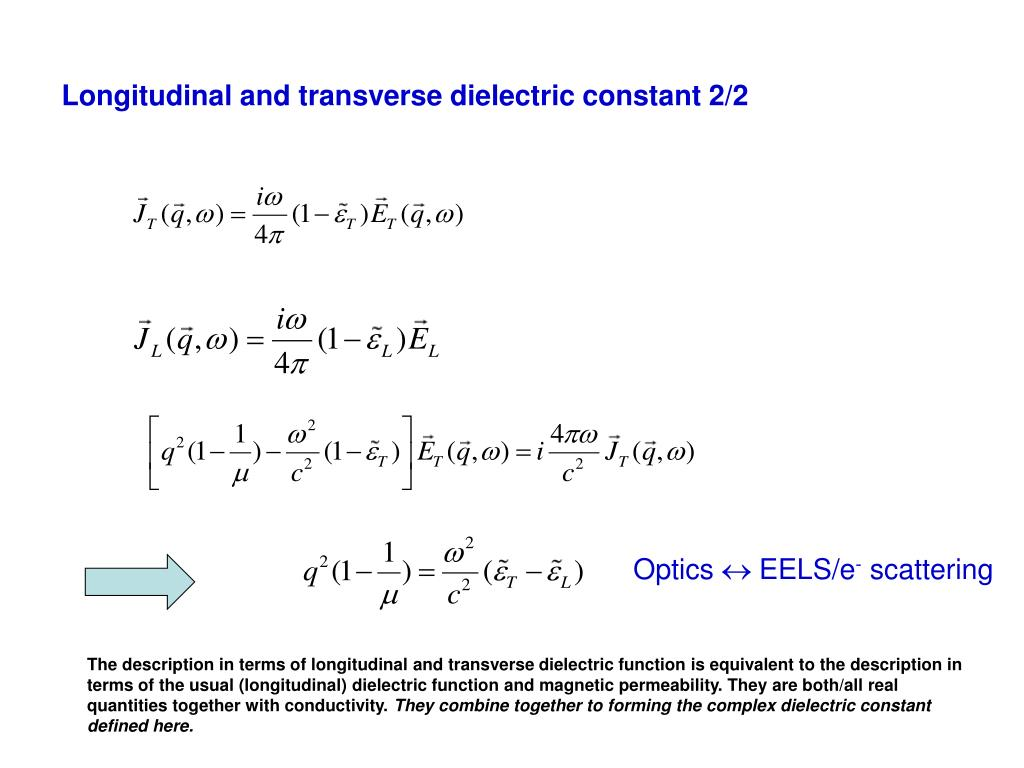 Longitudinal and transverse dielectric constant 2/2