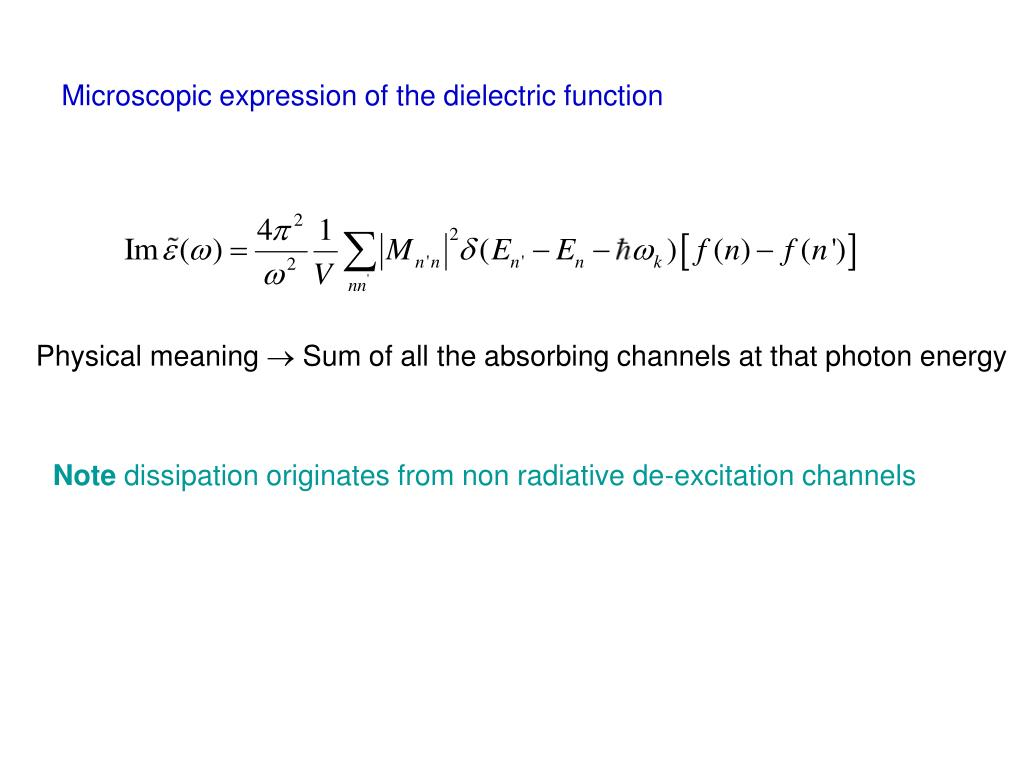 Microscopic expression of the dielectric function