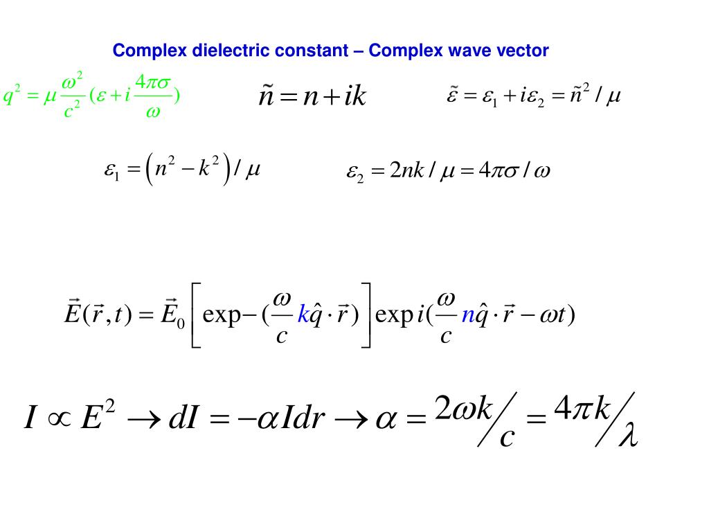 Complex dielectric constant – Complex wave vector