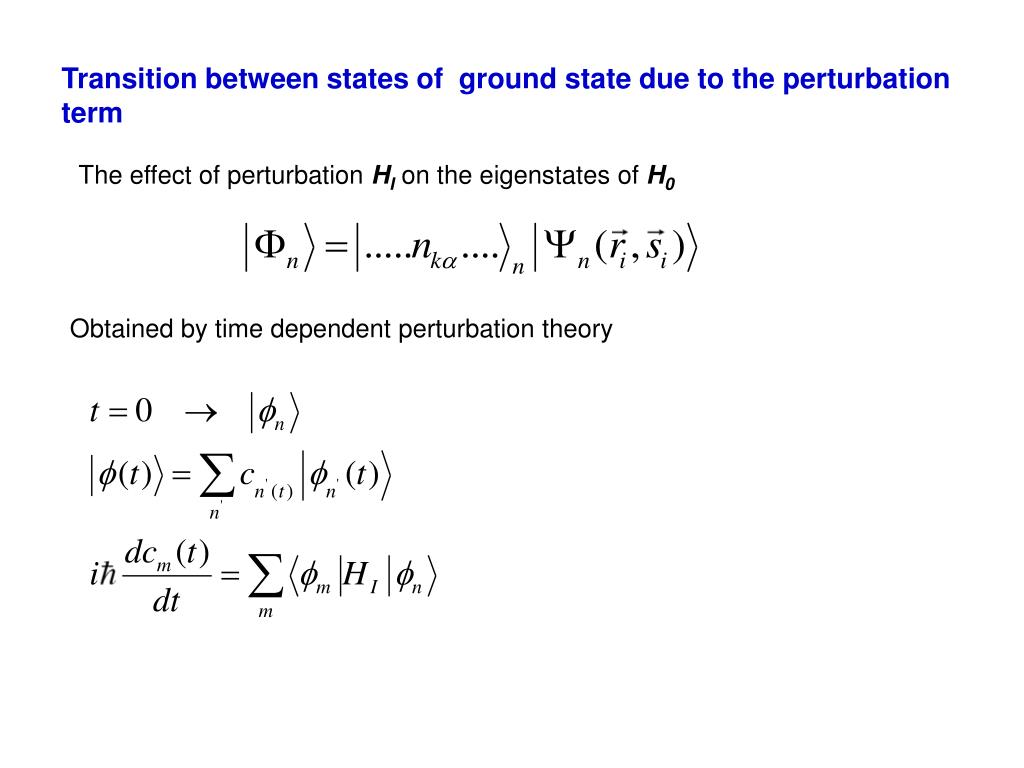 Transition between states of  ground state due to the perturbation term