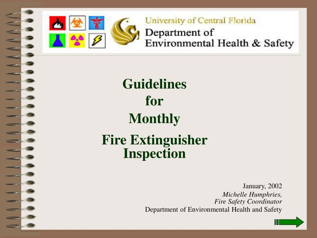 PPT - Guidelines for Monthly Fire Extinguisher Inspection