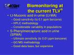 biomonitoring at the current tlv
