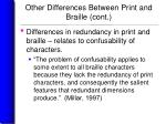 other differences between print and braille cont19