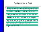 redundancy in print21