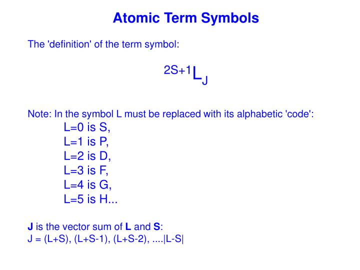 Ppt Atomic Term Symbols Powerpoint Presentation Id296390