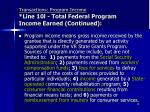 transactions program income line 10l total federal program income earned continued