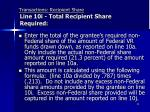 transactions recipient share line 10i total recipient share required