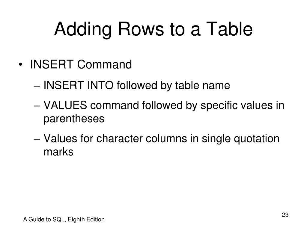 Adding Rows to a Table